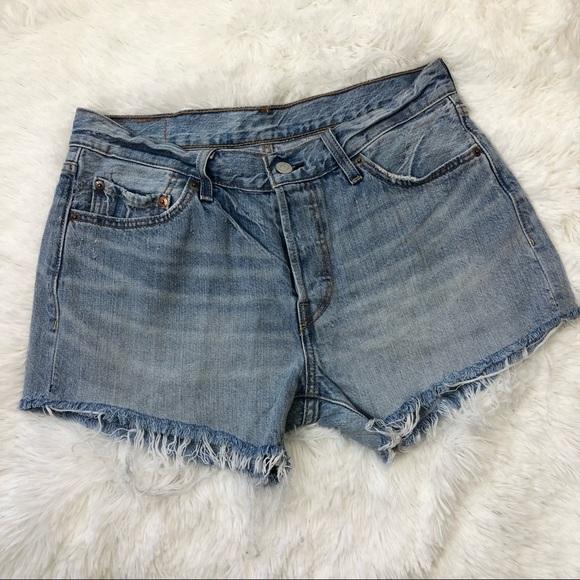 Levis 501 Jean Shorts Button Fly 28 Blue Cut Off